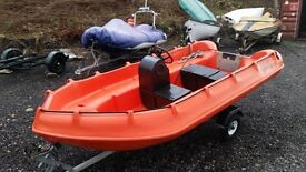 2011 Whaly 370 plastic boat and road trailer