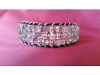 New handmade Silver AB Swarovski crystal bracelet on black leather