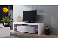 Modern TV Unit 160cm Cabinet Stand White Matt & White High Gloss + RGB LED Lights