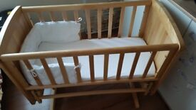 Swinging wooden Mothercare baby crib