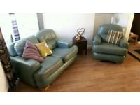 Summer green leather 2 seater and chair