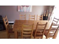 Dining room table and 8 chairs - solid wood