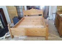 Hand made yellow pine double bed