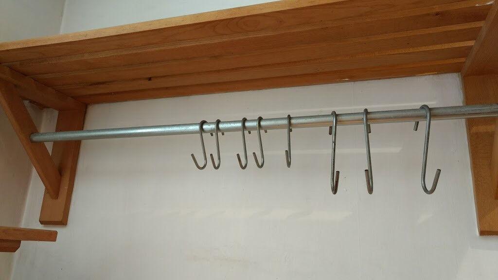 Habitat Long Olivia Beech wooden slatted shelf with hanging bar