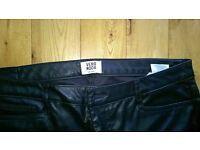 vero moda black leather look trousers