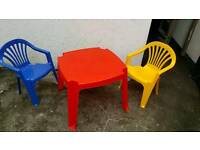 Kiddies plastic table and two chairs