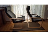 Ikea Poang Chairs (Pair) - Black Leather / Oak