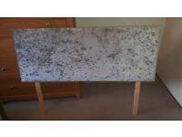 Silver crushed velvet double headboard
