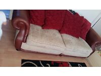 3 seater sofa with leather and fabric