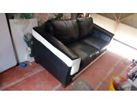 real leather 3 seater sofa. MFI only 2 years old, well made