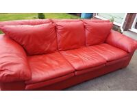 Free red leather 3 seater sofa/couch