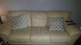 2X cream leather sofas FREE