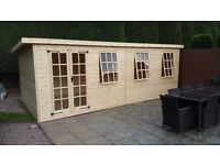 20 x 10ft PINE SUMMERHOUSE WORKSHOP CABIN HEAVY DUTY SHED £1795