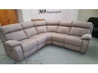Ex Furniture Village Corner Electric Recliner Fabric Sofa & Storage Footstool **CAN DELIVER**