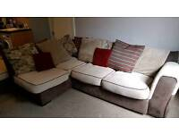 Beige and Brown corner sofa with matching large foot stool.