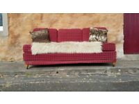 Vintage Retro Red Sofa Bed Sprung Double