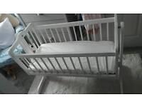Baby swinging crib cot white bed with new matress