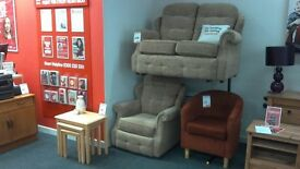 G-Plan Suite Beige Fabric Two Seater plus One Chair BRITISH HEART FOUNDATION