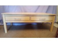 Rubber Wood Low Coffee Table with Draws - 105 x 50 x 40cm