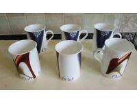 Set of 6 bone china shoe design mugs