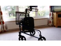 Drive Medical 3-wheel Rollator with tray, basket & shopping bag with cover