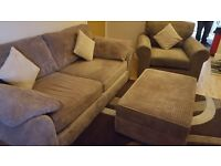 3 Piece Sofa Chair & Storage Footrest. As new with remaining warranty.