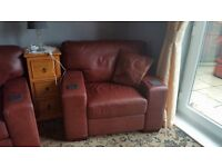 Large leather 3 piece suit brown, damage to middle cushion on sofa but at the back. can be repaired