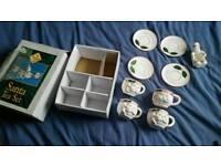 Christmas santa tea set cups plates home