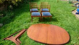 G Plan oval extending table & 4 chairs