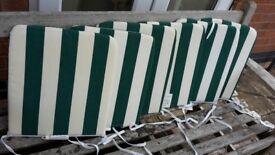 6 Green & White Stripe Patio Seat Pads
