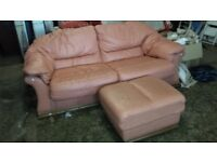 Two/Three seater settee sofa with Pouffe