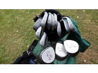 Golf clubs, bag and wood covers