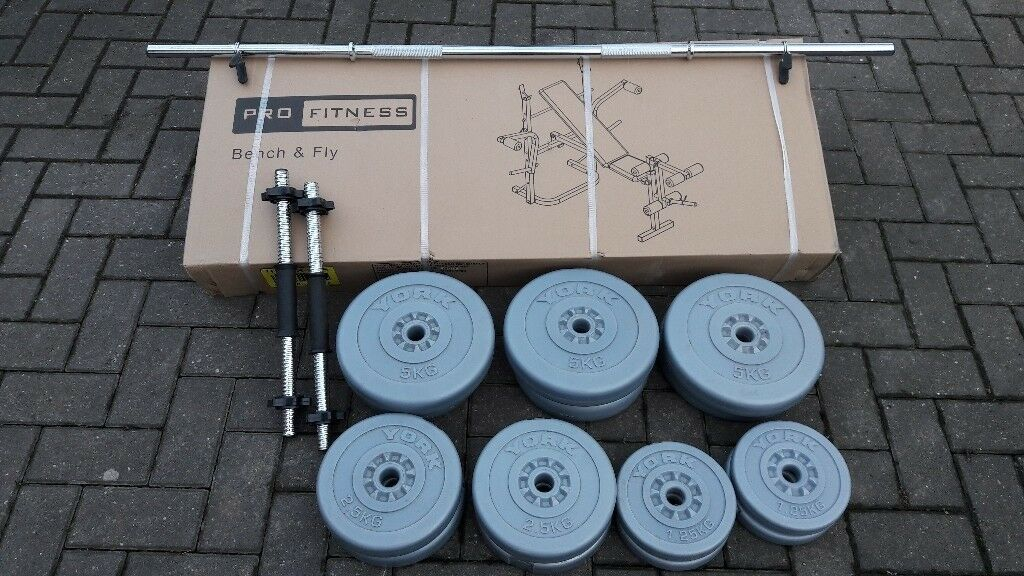 WEIGHTS BENCH WITH LEG & BUTTERFLY * * BRAND NEW & BOXED * * & 50KG WEIGHTS & BARS