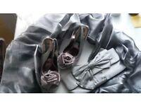 High heel size 4,ladies bag, shawl. Party set