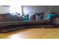 3&2 seater corner sofa. Grey&black. Immaculate condition
