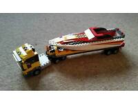 LEGO speed boat with transporter truck