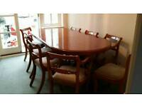 Bradley yew dining table and 8 chairs