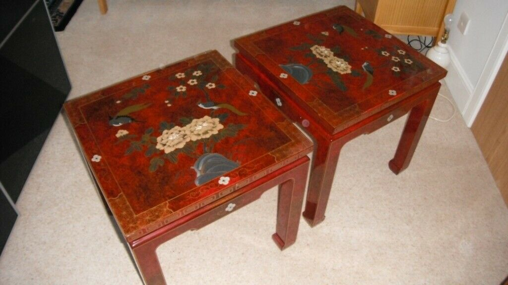 Chinese Side Table.Pair Of Matching Chinese Lacquered Lamp Side Tables In