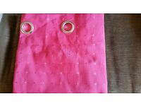 Pink Homemade lined curtains with eylets
