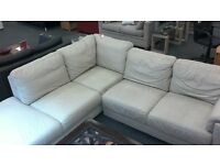 Large cream 5 seater leather corner sofa