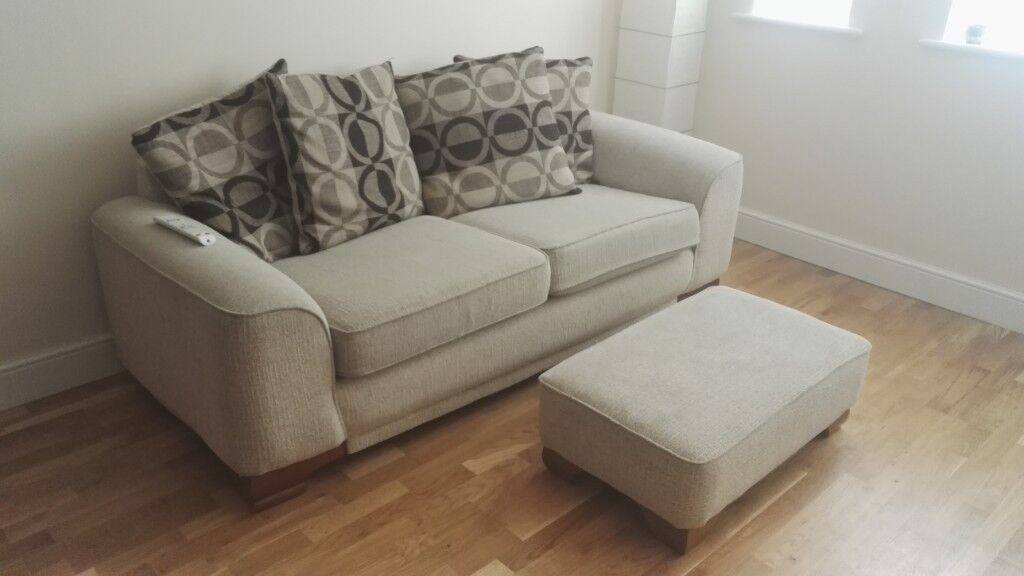 Beige Amp Brown Fabric Sofa With Ottoman In Leicester
