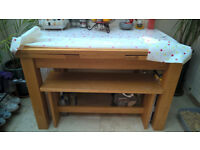Solid Oak Extendable Dining/Kitchen Table with 2 x custom made benches