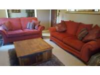 3 seater sofa and 2 seater sofa in terracotta chenille material including free curtains. J26 M1,