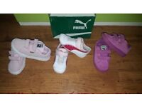 Three pairs of original girls infant shoes trainers size 7 ,8,9 bundle