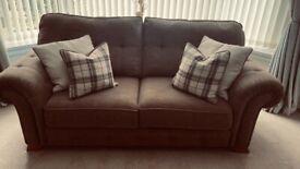2 x 2 seater sofas, armchair & large footstool Oak Furnitureland
