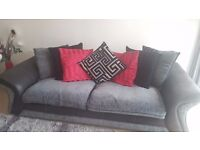 Grey / Silver / Black 4 seater, 2 seater, footstool & rug