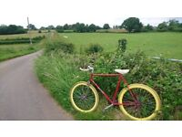 "Retro single speed ""fixie"" bike - bright and vintage"