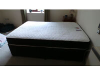 """4ft 6"""" Double BLACK 12.5g QUILTED ORTHO MEMORY FOAM DIVAN BED +11"""" MATTRESS"""