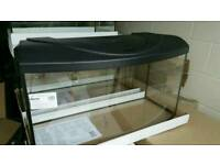 Fish tank bow front 80x35x40H cm 112 liters with lighting hood