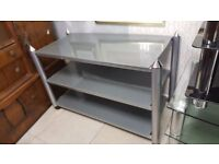 Large Chrome & Glass TV Stand